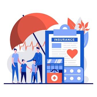 Concetto di assicurazione sanitaria familiare con carattere di persone minuscole