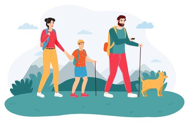 Sfondo di escursione in famiglia