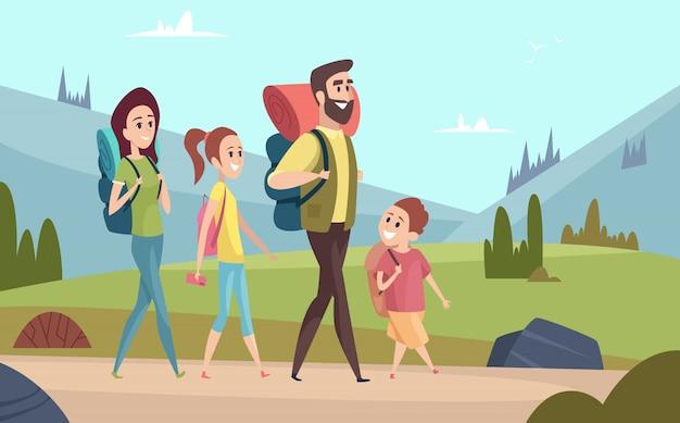 Famiglia escursioni sullo sfondo. coppie ambulanti nelle montagne bambini con personaggi di avventura all'aperto di viaggiatori turisti genitori