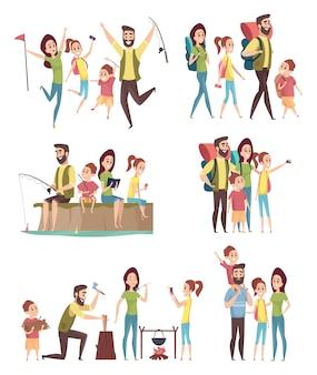 Escursioni in famiglia. coppie con bambini che esplorano i viaggiatori turisti avventura felice in montagna campeggio personaggi