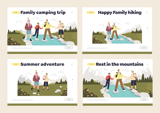 Escursioni in famiglia. pagine di destinazione impostate con genitori e figli che fanno trekking in montagna insieme, si accampano e viaggiano in vacanza. cartoon illustrazione piatta