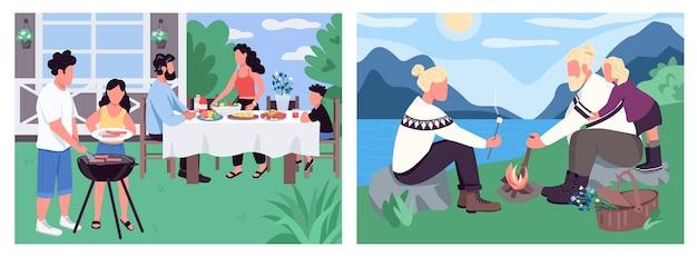 Set di colori piatti per vacanze in famiglia. bambini e genitori mangiano barbecue. persone in campeggio e marshmellow arrosto. paesaggio del fumetto 2d ricreativo con la natura sulla raccolta di sfondo