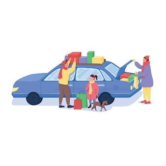 Famiglia in vacanza a fare shopping personaggi senza volto di colore piatto. i genitori caricano i regali sull'auto. venerdì nero. illustrazione del fumetto isolata vendita di liquidazione stagionale