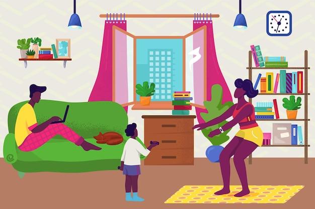 Famiglia a casa concetto illustrazione