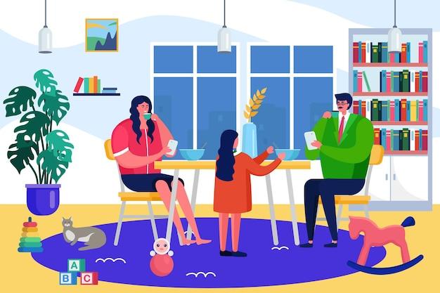 Famiglia a casa concetto, illustrazione vettoriale. personaggio di madre padre bambino vicino al tavolo da pranzo insieme, bambino felice parla con la persona dei genitori.