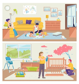 Famiglia a casa,. persone padre madre uomo donna carattere felice insieme in camera, insieme per il tempo libero.