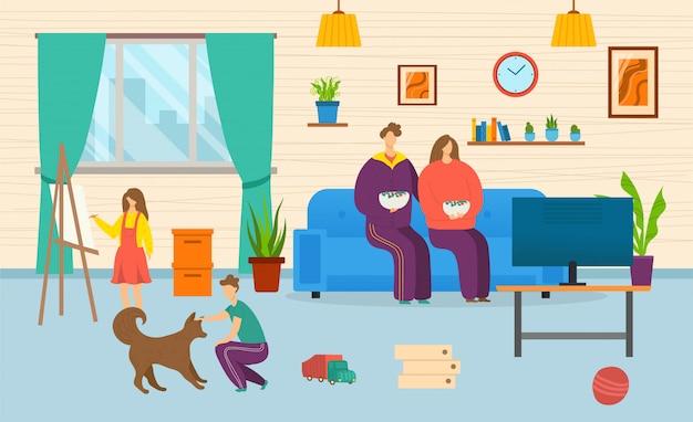 Famiglia a casa insieme, illustrazione. generi la madre al sofà, disegna il carattere del bambino e giochi con il cane, interno della casa. seduta della ragazza del ragazzo dell'interno, svago del fumetto in salone.