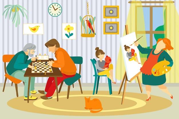 Famiglia a casa, illustrazione vettoriale. felice madre donna personaggio disegnare figlia bambino ritratto, padre uomo gioca a scacchi con il nonno.