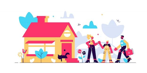 Illustrazione di casa familiare.