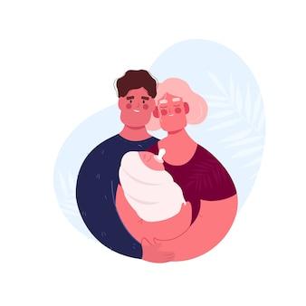 Famiglia. marito con moglie e figlio. stile cartone animato piatto. donna con bambino. mamma e bambino.