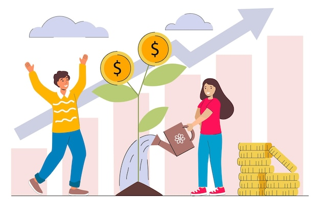 Profitto da investimento familiare uomo e donna che prelevano denaro dall'albero dei soldi finanziamento della strategia degli investitori Vettore Premium