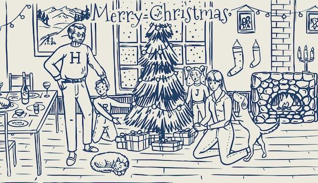 La famiglia sta decorando l'albero per natale. mamma papà cane gatto e bambini alla finestra con a