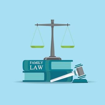 Libri di diritto di famiglia con un martelletto dei giudici nello stile piano.