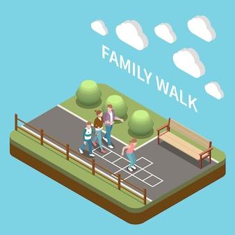 Tempo libero in famiglia che gioca composizione di persone isometriche con descrizione della passeggiata in famiglia e quattro persone per strada
