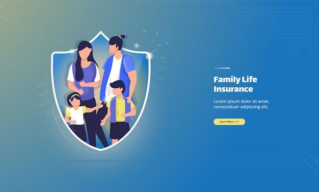 Concetto di illustrazione di assicurazione per la cura della vita familiare