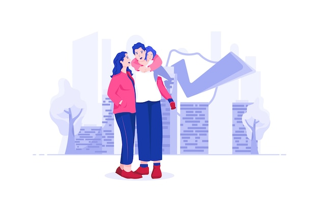 Concetto di illustrazione di assicurazione sulla vita familiare