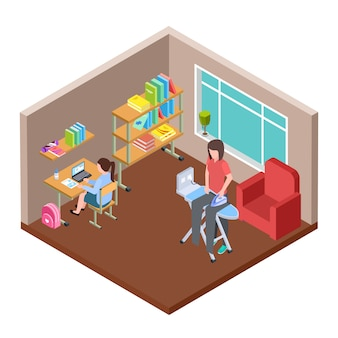 Vita familiare isometrica. casalinga e piccoli girs nell'illustrazione della stanza