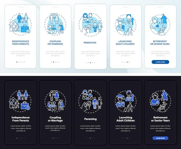 Schermata della pagina dell'app mobile di onboarding del ciclo di vita della famiglia. guida alla genitorialità 5 passaggi istruzioni grafiche con concetti. modello vettoriale ui, ux, gui con illustrazioni lineari in modalità giorno e notte