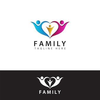 Logo della famiglia, amore per la famiglia, design del modello della famiglia di salute
