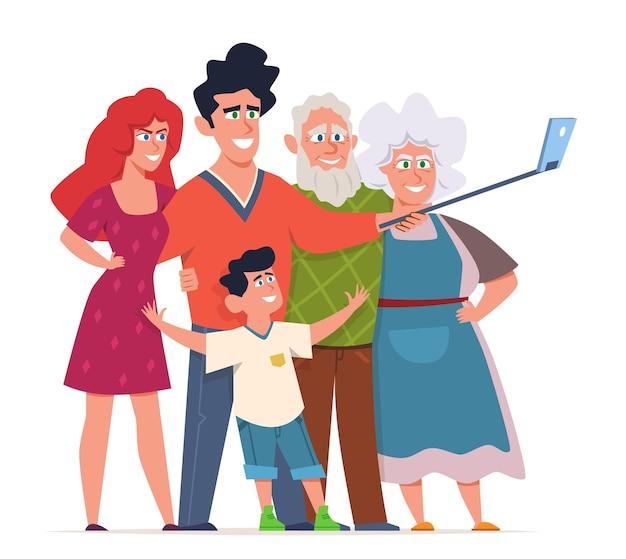 La famiglia fa l'illustrazione del selfie