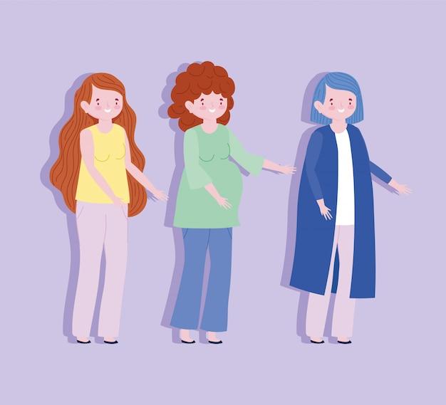 Personaggio dei cartoni animati di famiglia madre mamma e donna incinta membro