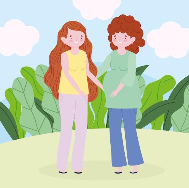 Madre di famiglia e donna incinta personaggio dei cartoni animati all'aperto