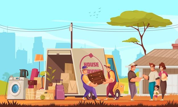 Famiglia che si trasferisce in una nuova casa composizione di cartoni animati all'aperto con mobili