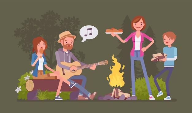 Famiglia vicino al fuoco. genitori e bambini che si accampano di notte vicino al fuoco, stanno fuori, si godono il fine settimana cantando e mangiando insieme, tempo di avventura ricreativa. illustrazione del fumetto di stile