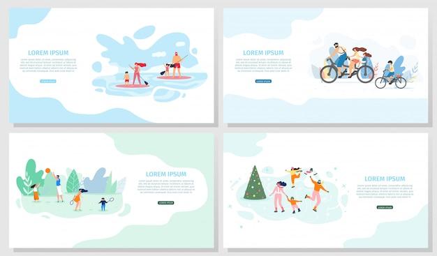 Set di banner web vettoriale di attività all'aria aperta per famiglie