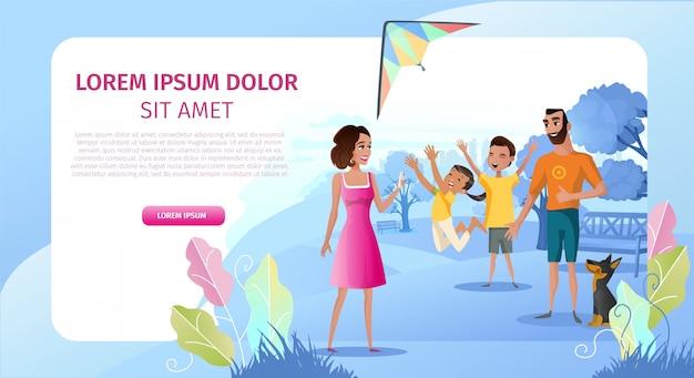 Pagina di atterraggio di vettore del fumetto del partito all'aperto della famiglia Vettore Premium