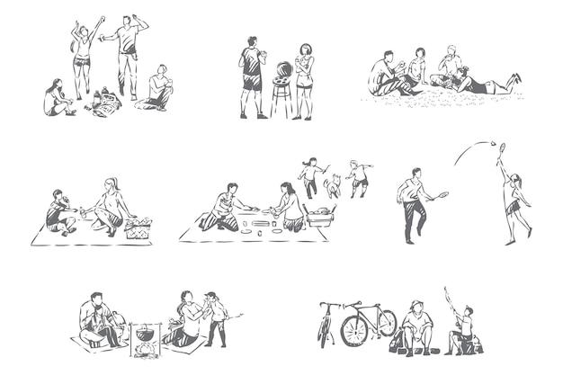 Illustrazione di schizzo di concetto di ricreazione all'aperto della famiglia