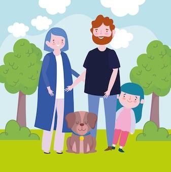 Famiglia genitori figlia cane paesaggio