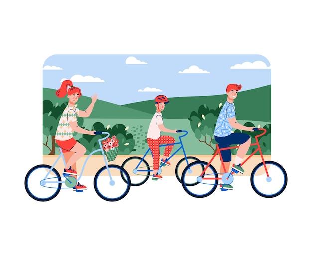 Famiglia di genitori e figlio che vanno in bicicletta sullo sfondo del prato estivo, cartone animato piatto