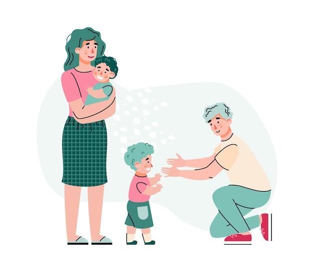 Famiglia di genitori con due figli. il padre tende le mani al bambino che cammina, la madre tiene il neonato tra le braccia.