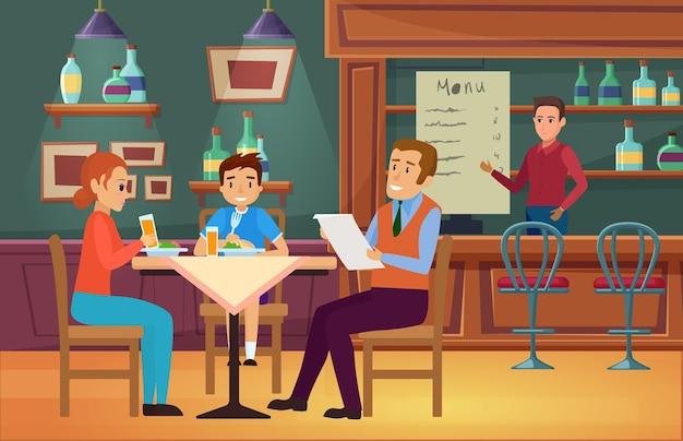 I familiari mangiano cibo al bar, madre, padre e figlio, mangiano la cena seduti a tavola Vettore Premium