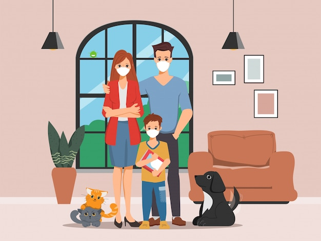 Famiglia persone in quarantena che indossano una maschera e rimangono a casa adattandosi al nuovo normale stile di vita.