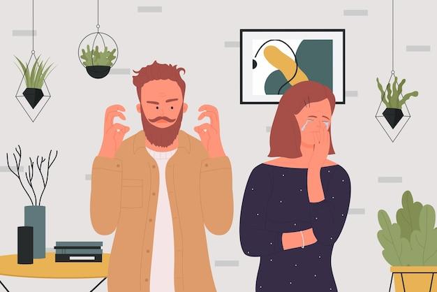 I familiari litigano giovane uomo arrabbiato che litiga con rabbia donna triste che piange conflitto