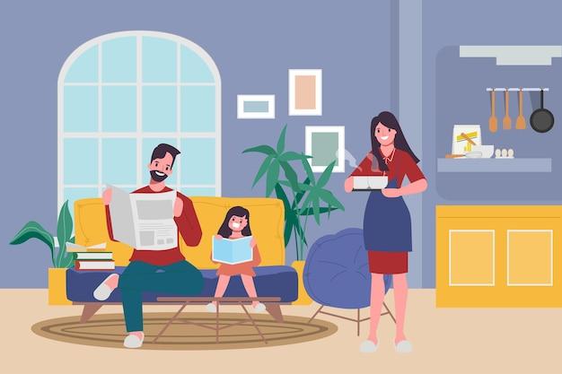 Famiglia le persone stanno a casa con amanti e genitori.