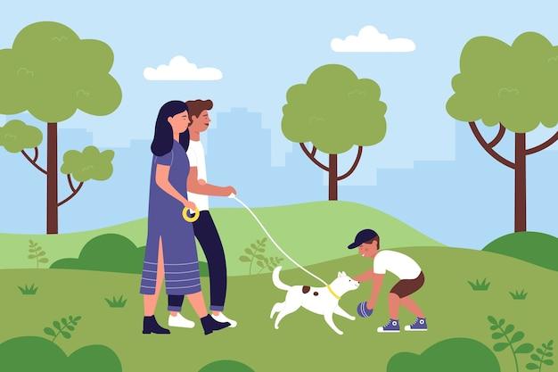 La gente della famiglia cammina con il cane da compagnia nell'illustrazione di paesaggio del parco cittadino di estate.
