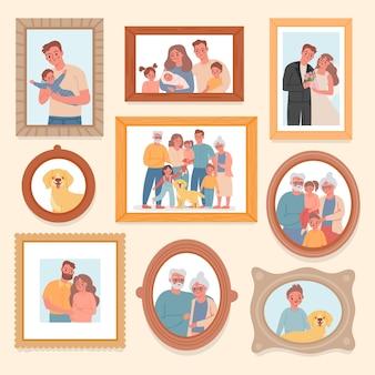 Foto di famiglia. genitori e bambini ritratto in cornici. foto ricordo con matrimonio, nonni, neonato. fotografia vettoriale di grandi famiglie. galleria di foto di famiglia di illustrazioni donna e uomo