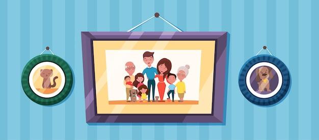 Foto di famiglia con ritratti di genitori e bambini in cornici foto ricordo con i nonni