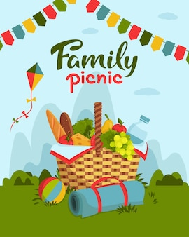Concetto di picnic in famiglia con cesto pieno di cibo sano