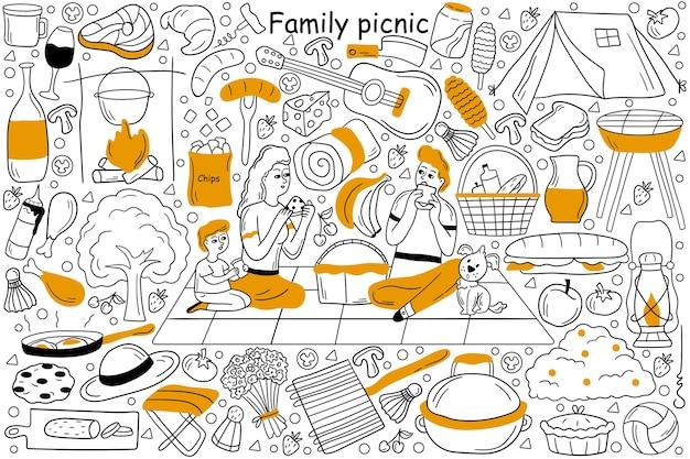 Insieme di doodle di picnic in famiglia