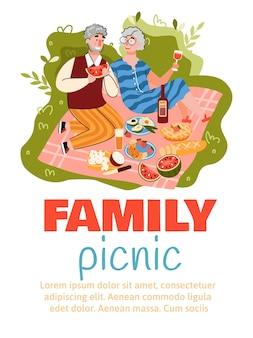 Aletta di filatoio o insegna di picnic della famiglia con le coppie maggiori isolate. Vettore Premium