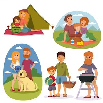 Famiglia pic-nic estate vettoriale