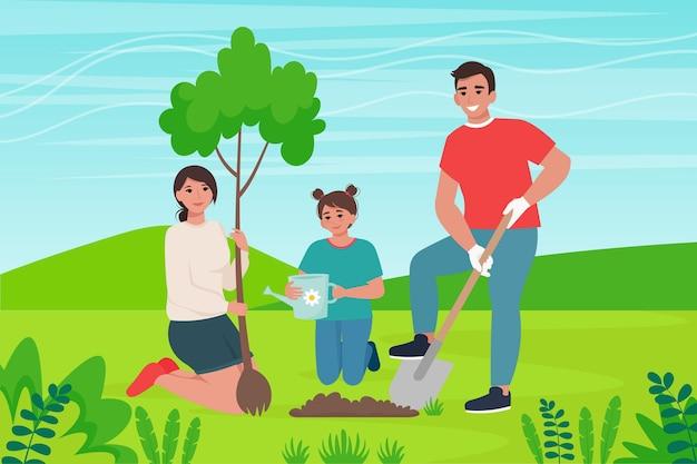 La famiglia pianta un albero. conservazione della natura, illustrazione di concetto di abbellimento nello stile piano del fumetto