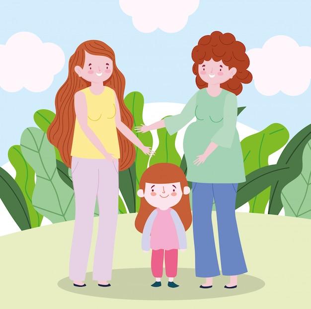 Famiglia incinta madre con adolescente e piccola figlia insieme personaggio dei cartoni animati