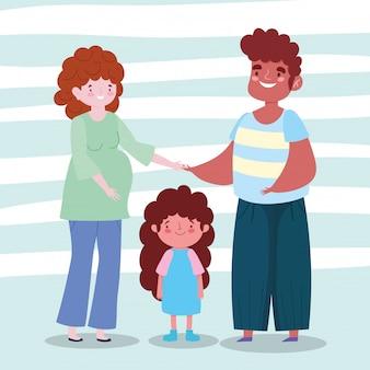 Famiglia donna incinta padre e figlia insieme personaggio dei cartoni animati
