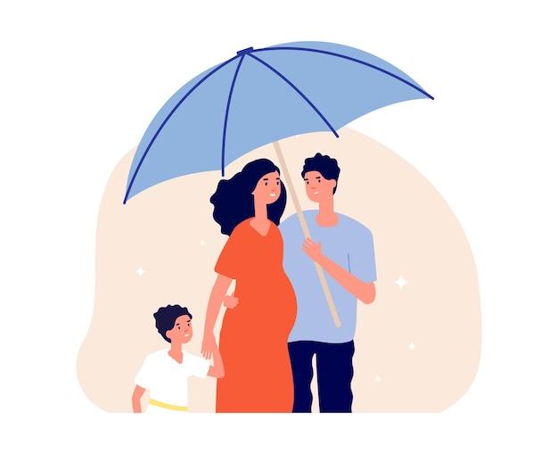 Concetto di protezione della famiglia. uomo con ombrello sotto moglie incinta e figlio. genitori e bambino felici. assicurazione sulla vita, illustrazione vettoriale metafora di protezione sociale. protezione della famiglia e sicurezza medica