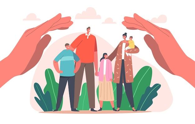Concetto di protezione della famiglia. i personaggi di genitori e bambini stanno sotto enormi mani umane proteggendo madre, padre, bambini